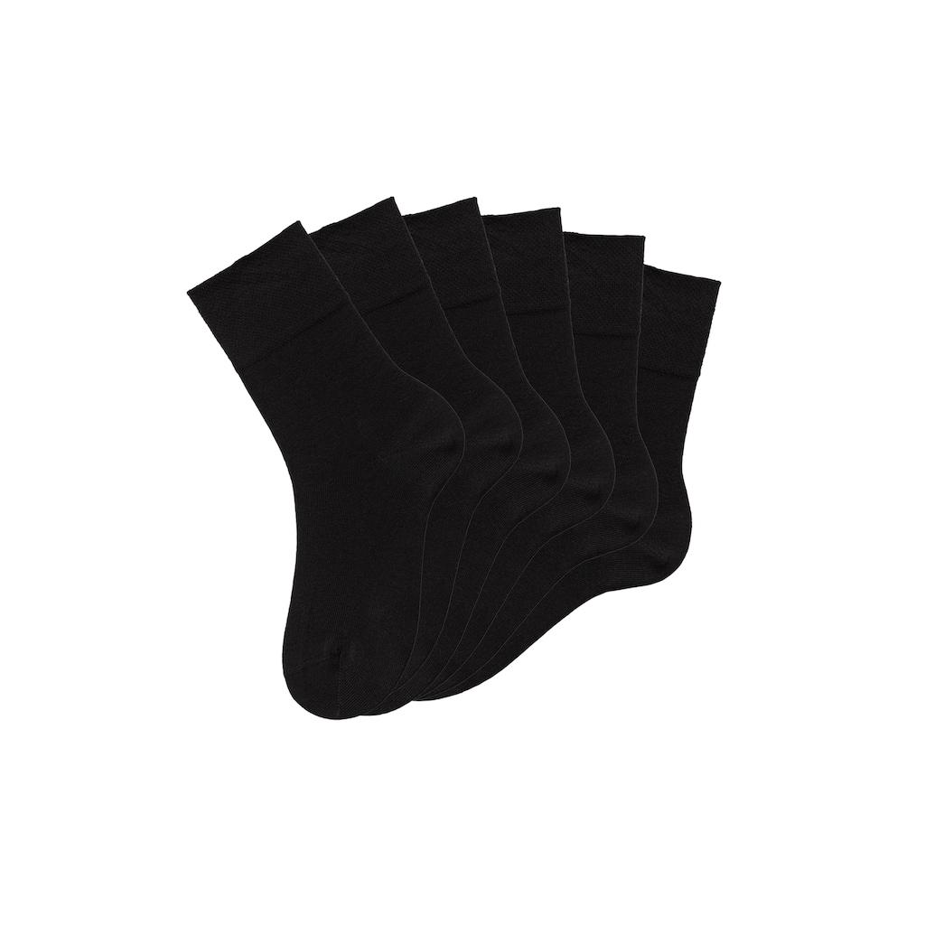 Rogo Socken, (6 Paar), mit Komfortbund auch für Diabetiker geeignet