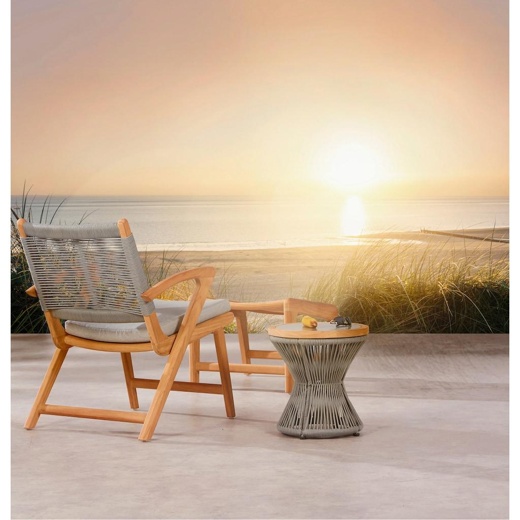 Best Loungesessel »Agadir«, Teakholz, inkl. Sitzkissen, grau