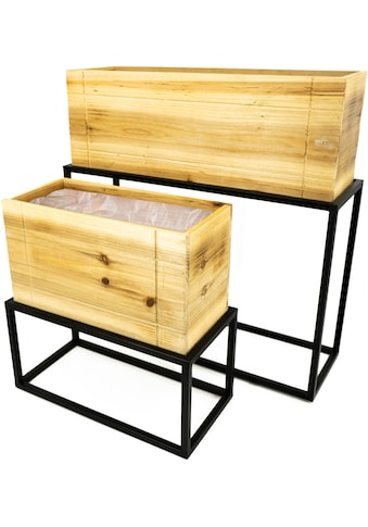 NOOR LIVING Pflanzkübel »Pflanzkasten-Set 2-tlg., Metall/Holz«, (Set, 4 St.) kaufen