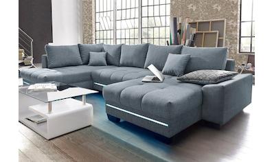 Nova Via Wohnlandschaft, wahlweise mit Kaltschaum (140kg Belastung/Sitz), mit RGB-LED-Beleuchtung, Bluetooth-Soundsystem und Bettfunktion kaufen