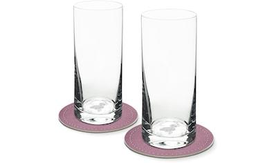 Contento Longdrinkglas, (Set, 4 tlg., 2 Longdrinkgläser und 2 Untersetzer), Flamingo,... kaufen