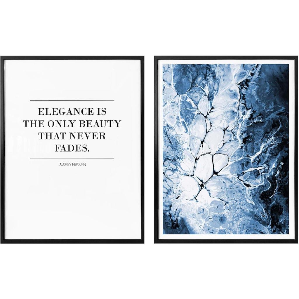 Wall-Art Poster »Blaue Eleganz«, (Set, 2 St.), mit Rahmen