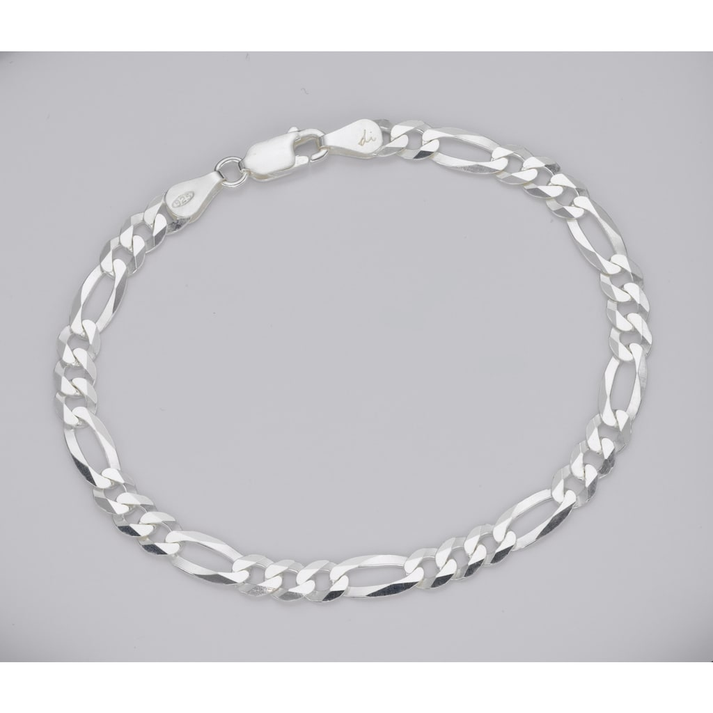 Firetti Gliederarmband »in Figarokettengliederung, 2-fach diamantiert, poliert«
