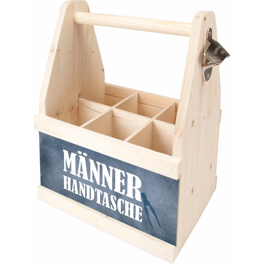 Contento Flaschenkorb »Männer Handtasche«, (1 tlg.), aus europäischem Holz