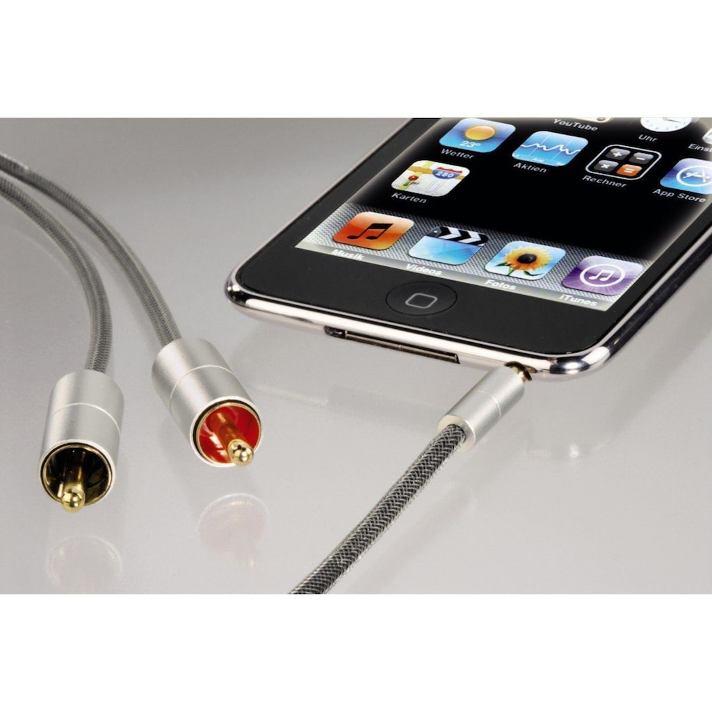 Hama Audio-Kabel »Klinken-Cinch-Kabel AluLine 1m«, 3,5-mm-Klinke, 350 cm, Klinkenst. 3,5 mm stereo- 2x Cinch Stecker