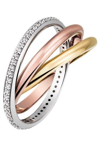 Firetti Goldring »3 - fach verschlungen, tricolor - Optik, massiv und glänzend« kaufen