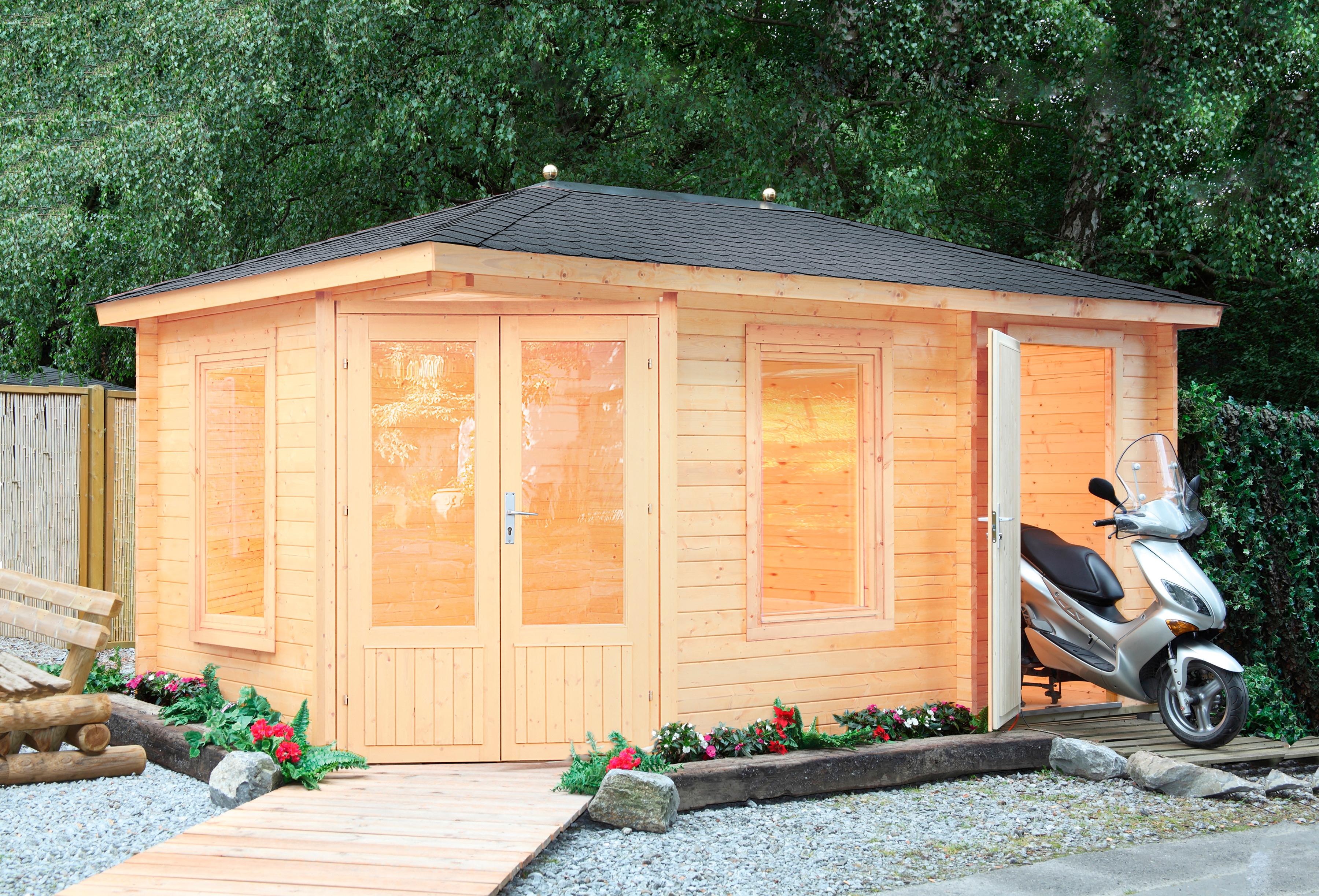 WOLFF FINNHAUS Set: Gartenhaus »Anna 40-A/2«, BxT: 503x349 cm, inkl. Fußboden, schwarze Schindeln   Garten > Bodenbeläge-Garten   WOLFF FINNHAUS