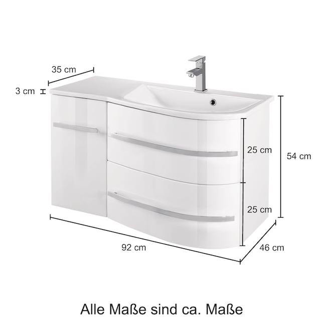 WELLTIME Waschtisch »OSLO«, Breite 90cm 2tlg. , geschwungene Form, Ablage links