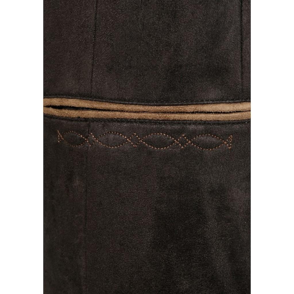 OS-Trachten Trachtensakko, mit Stehkragen und Veloursleder Optik
