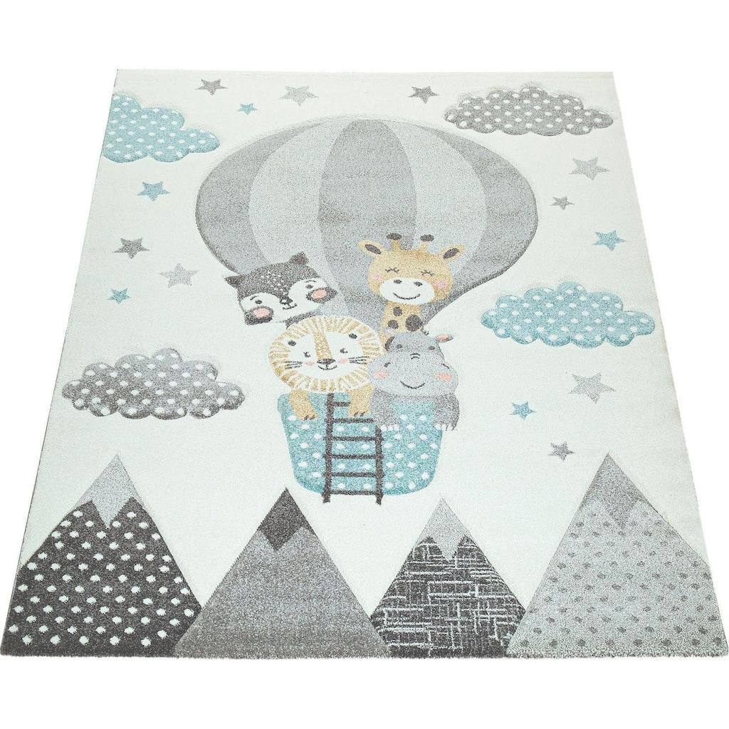 Paco Home Kinderteppich »Cosmo 343«, rechteckig, 12 mm Höhe, Kinder Design, niedliches Tier-Motiv in Pastell-Farben, Kinderzimmer
