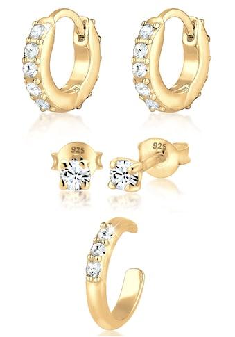 Elli Ohrring-Set »Ohrringe Creolen Stecker Earcuff, 0301360920«, (Set, 5 tlg.), mit Kristallen kaufen
