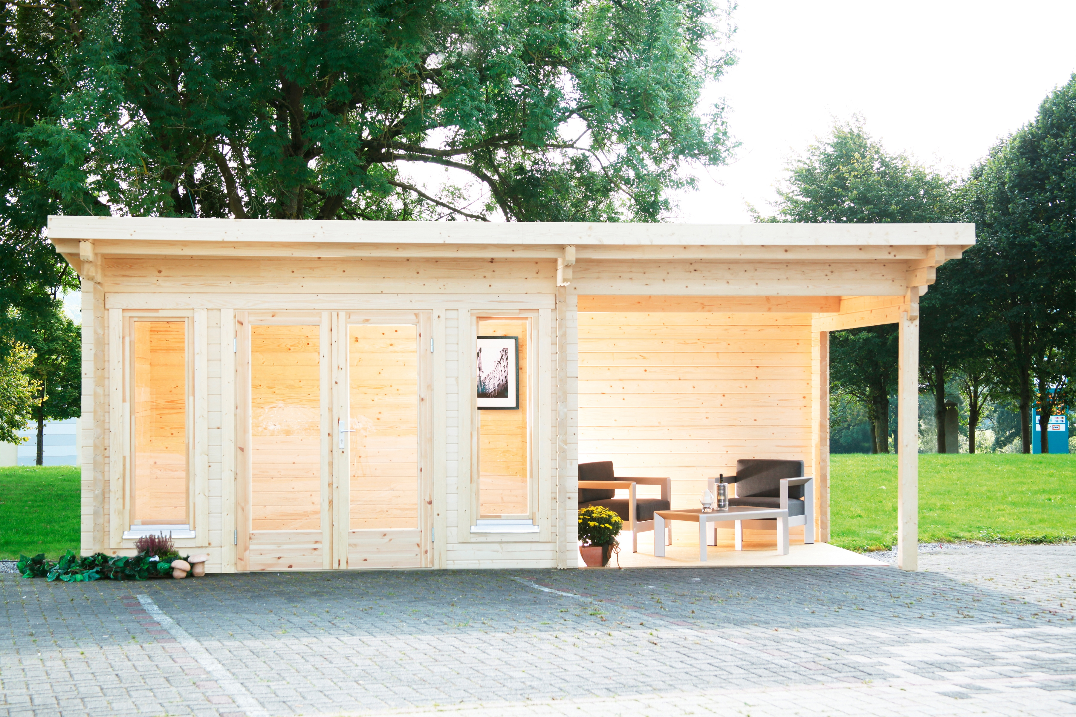 WOLFF FINNHAUS Set: Gartenhaus »Trondheim 70-A XL«, BxT: 580x390 cm, Fußboden, Anbaudach mit Rückwand rechts | Garten > Bodenbeläge-Garten | WOLFF FINNHAUS