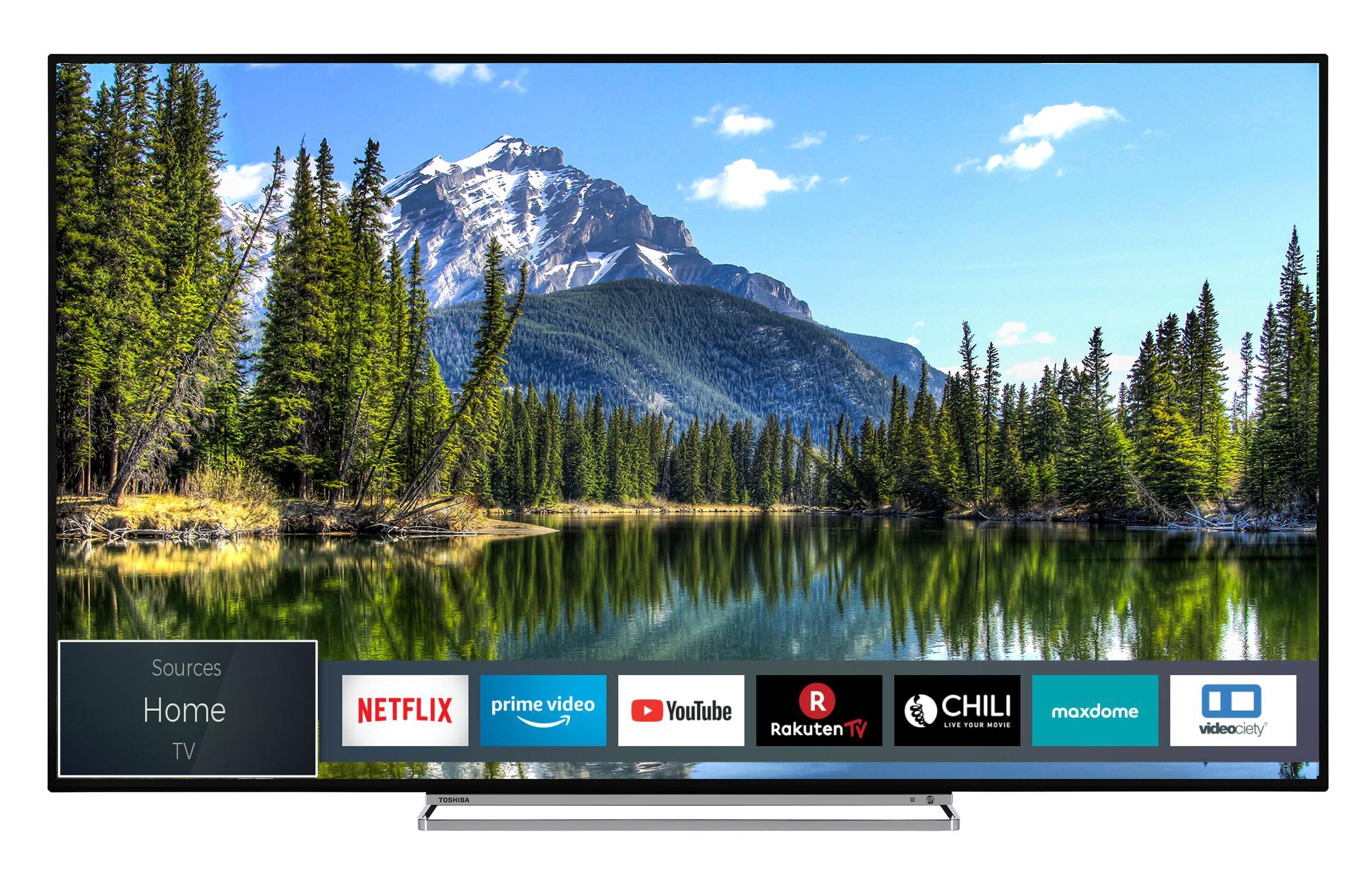 toshiba led fernseher 55 zoll 4k uhd smart tv triple tuner 55vl5a63dg auf raten bestellen. Black Bedroom Furniture Sets. Home Design Ideas