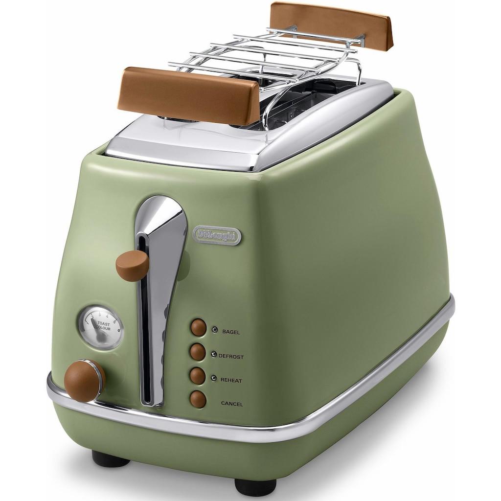 De'Longhi Toaster »Incona Vintage »CTOV 2103.BG««, 2 kurze Schlitze, 900 W, im Retro Look, grün