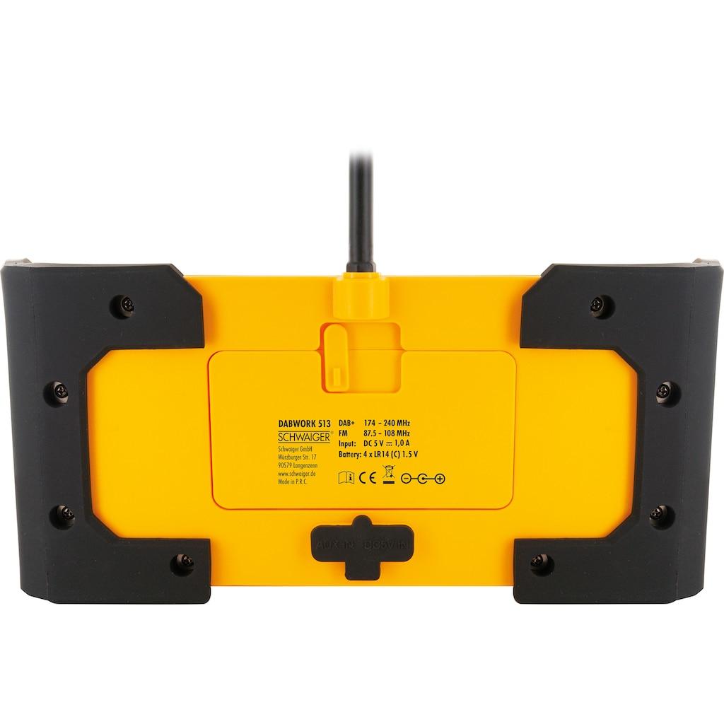 Schwaiger DAB+ Digitalradio tragbar, robustes Baustellenradio UKW/FM »AUX IPx4 wassergeschützt«