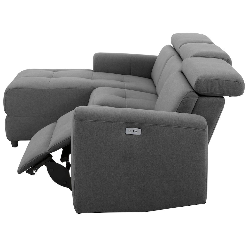 Home affaire Ecksofa »Sentrano«, wählbar zwischen manueller oder elektrischer Relaxfunktion mit USB-Anschluß, in 4 Bezugsvarianten, auch in NaturLEDER