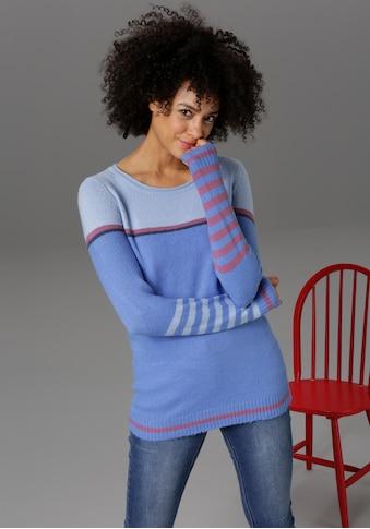 Aniston CASUAL Rundhalspullover, mit geringelten Ärmeln - NEUE KOLLEKTION kaufen