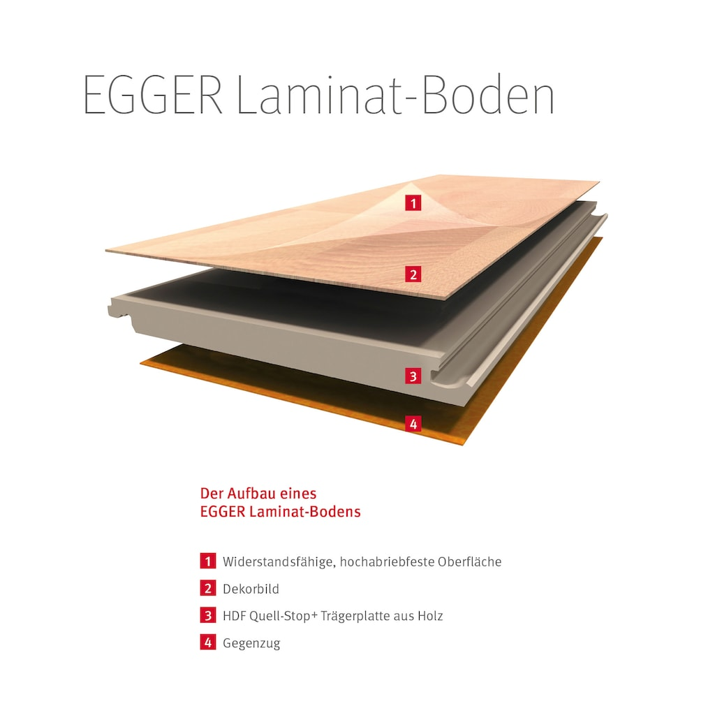 EGGER Laminat »HOME Lausanne Eiche hell«, pflegeleicht, 1291 x 193 mm, Stärke:10 mm