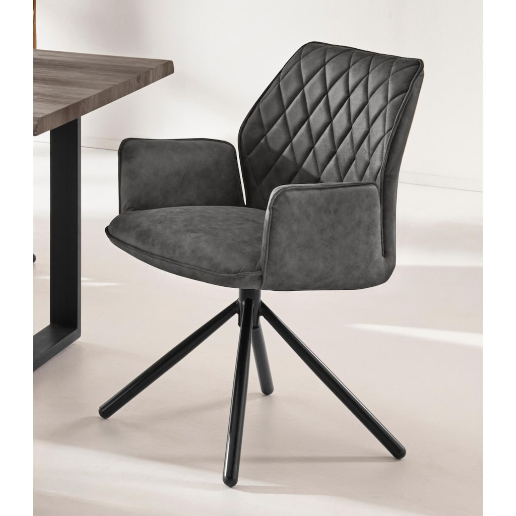 INOSIGN Esszimmerstuhl »Preston«, mit weichem Luxus-Microfaser Bezug in Lederoptik, mit schwarzen pulverbeschichteten Metallbeinen, Sitzhöhe 48 cm