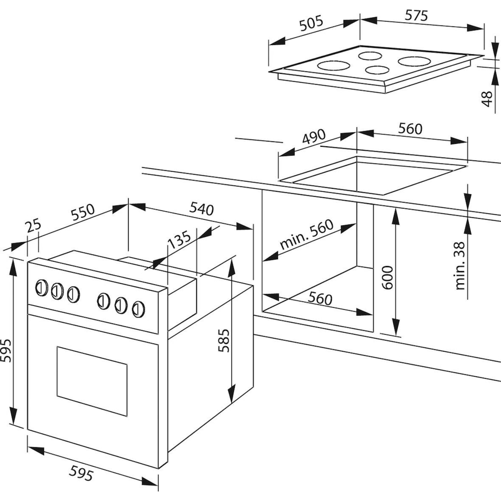 Amica Elektro-Herd-Set »EHC 12920 R«, EHC 12920 R, mit Backauszug, (Set), SteamClean-Funktion