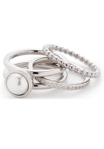 LEONARDO Ring-Set »Set/3 Ring 17, 18, 19 Perla, 016868«, (Set, 3 tlg.), mit Kristallsteinen und imit. Perle kaufen