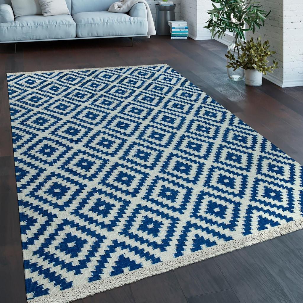 Paco Home Teppich »Kenitra 500«, rechteckig, 13 mm Höhe, handgefertigt, mit Fransen, Rauten Design, Wohnzimmer