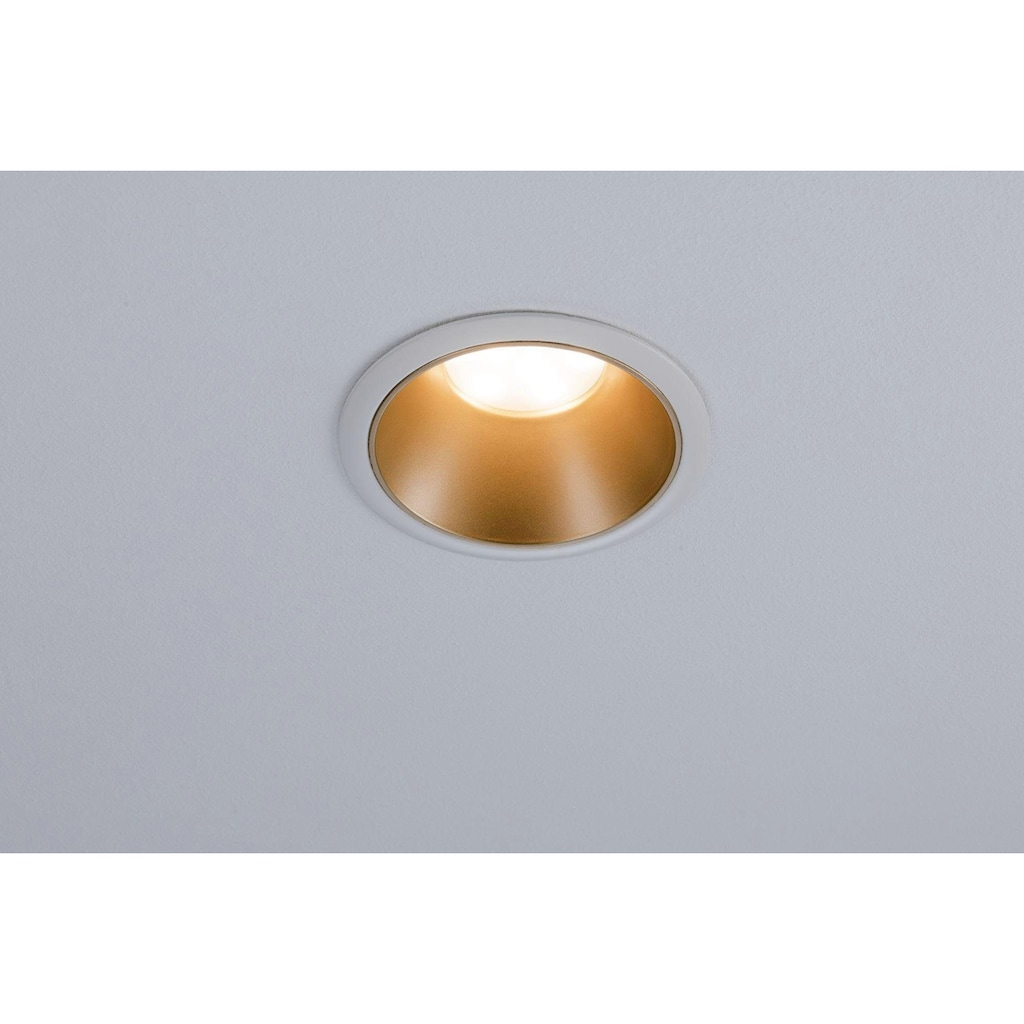 Paulmann LED Einbauleuchte »Cole 3x6,5W Weiß/Gold matt 3-Stufen-dimmbar 2700K Warmweiß«, Warmweiß, Deckenspots, 3er Set