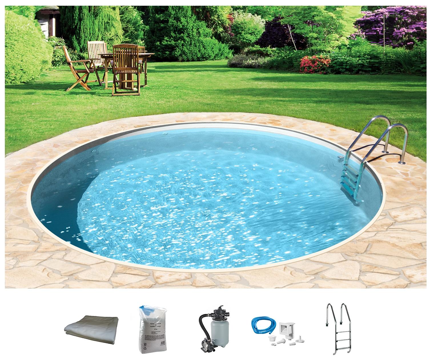 MYPOOL Set: Rundpool 6-tlg., ØxH: 350x120 cm | Garten > Swimmingpools > Schwimmbecken | Weiß | Edelstahl | MYPOOL