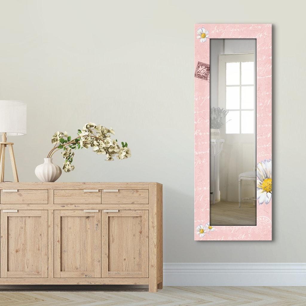 Artland Wandspiegel »Gänseblümchen auf rosa«