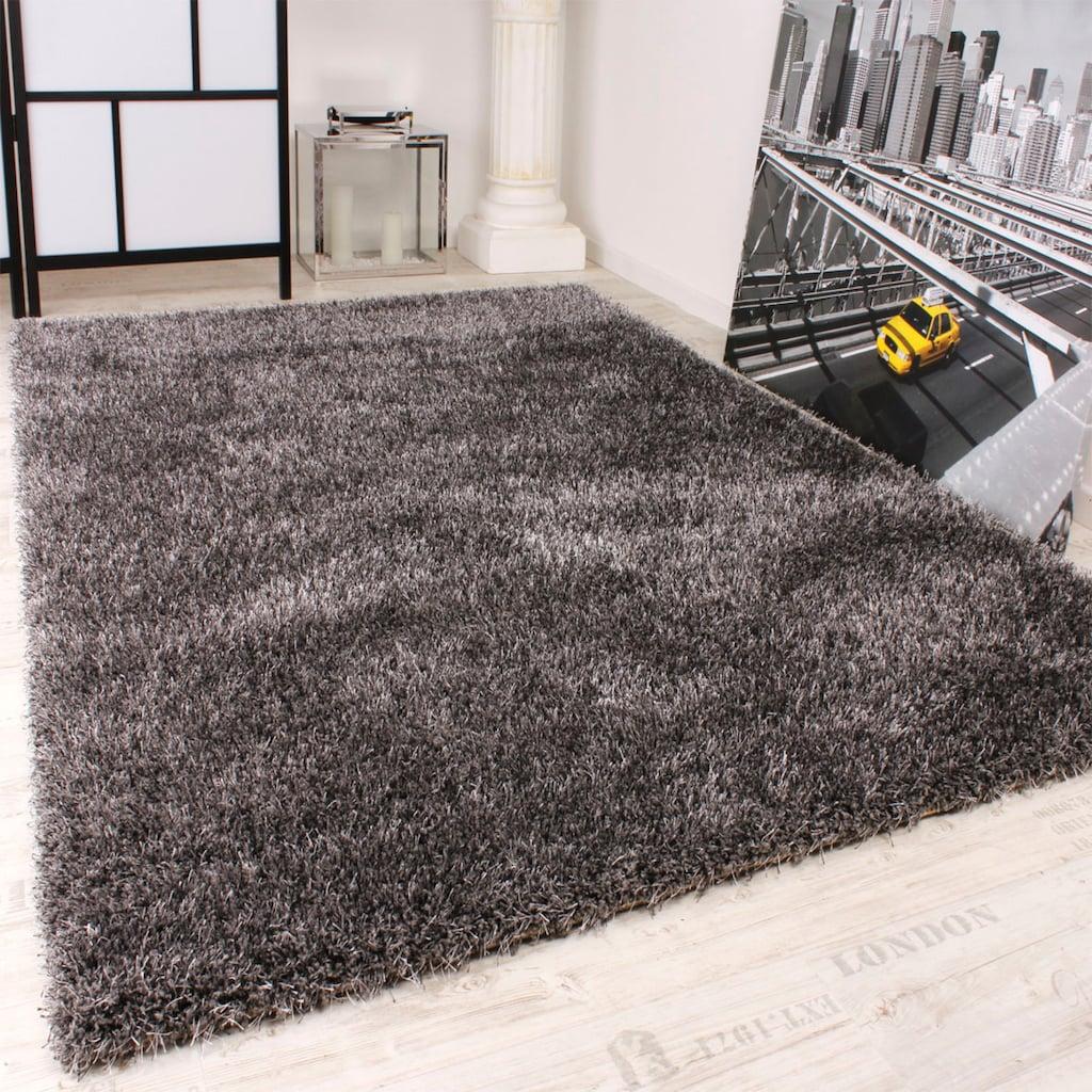 Paco Home Hochflor-Teppich »Maya 400«, rechteckig, 45 mm Höhe, Hochflor-Shaggy, einfarbig und weich, Wohnzimmer