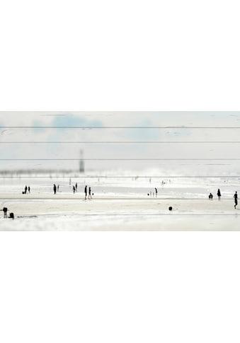 QUEENCE Holzbild »Miniatur Strand«, 40x80 cm Echtholz kaufen