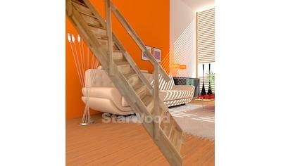 STARWOOD Raumspartreppe »Korfu«, geschl. Stufen, gerade, Holzgeländer links kaufen