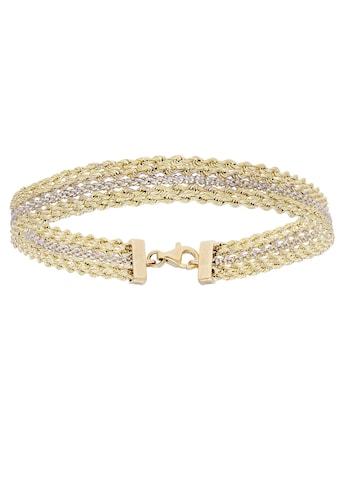 Firetti Goldarmband »in Bicolor-Fantasiekettengliederung, 8,9 mm, glanz, rhodiniert, diamantiert« kaufen