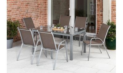 MERXX Diningset »Sorrento«, 7 - tlg., 6x Stapelsessel, Tisch 90x150 cm kaufen