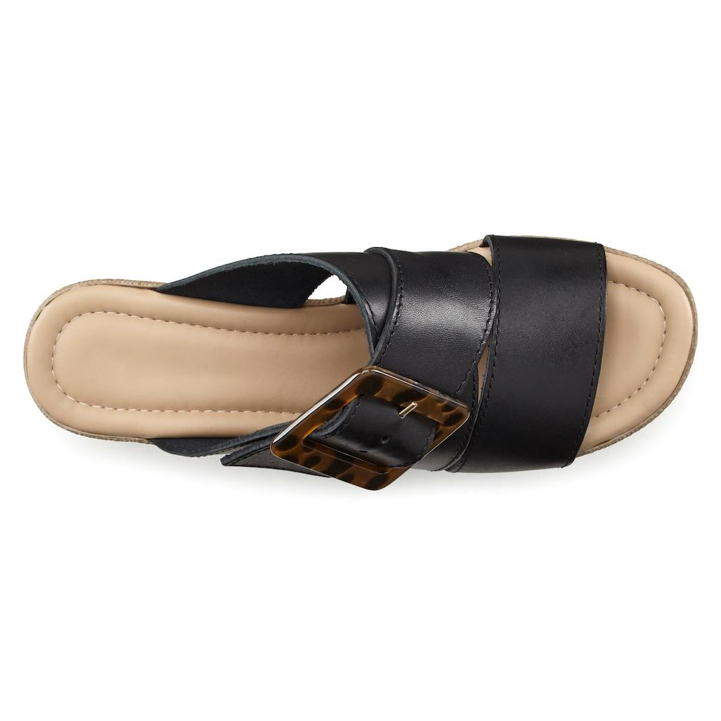 LASCANA Pantolette, aus Leder mit Plateau und modischer Schnalle
