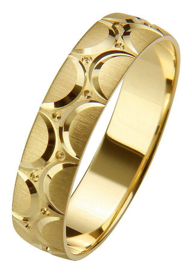 Firetti Trauring mit Gravur »5,0 mm, gebürstet, Diamantschnitt, Gelbgold« | Schmuck > Ringe > Ringe mit Gravur | Firetti
