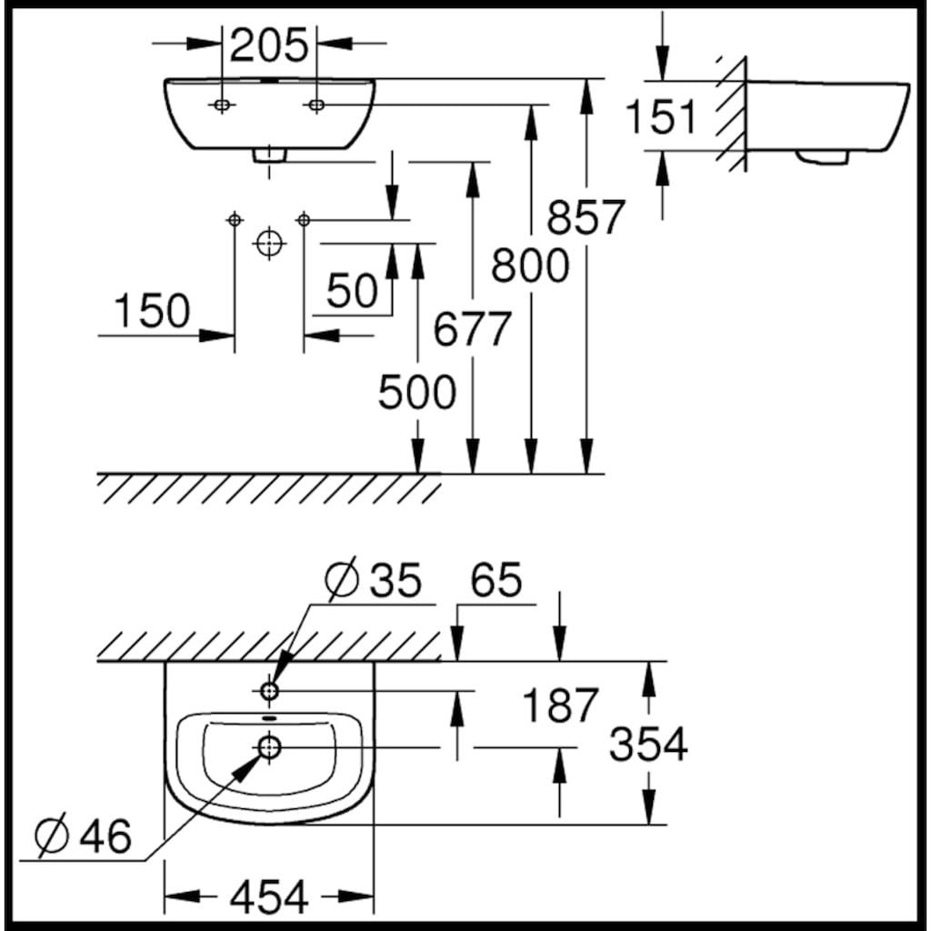 Grohe Waschtisch »Bau«, BxT: 45,4x35,4 cm