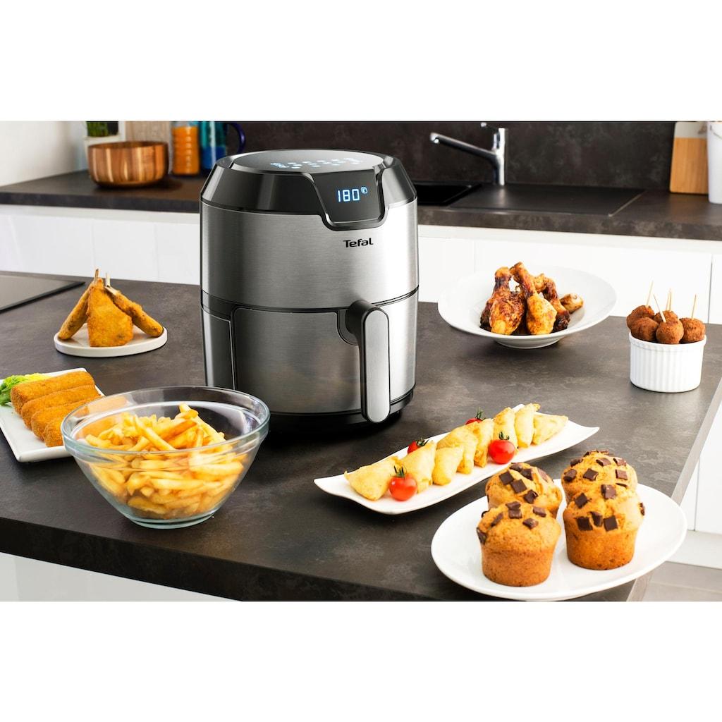 Tefal Heissluftfritteuse »EY401D Easy Fry Deluxe XL«, 1500 W, 6 automatische Programme, Digitales Display, Timer, Edelstahl/Schwarz