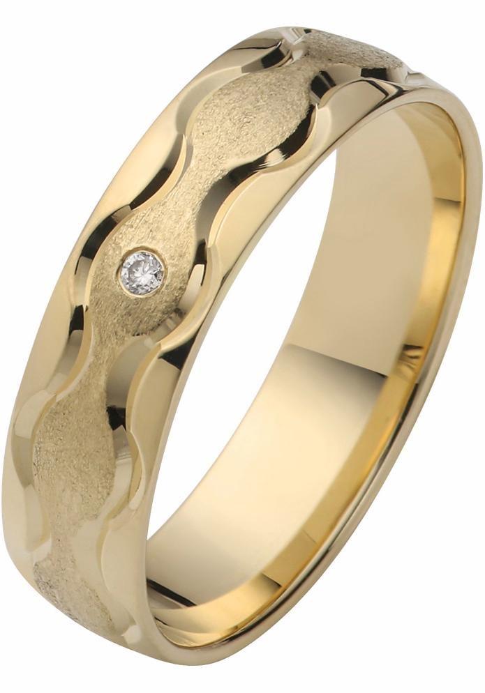 Firetti Trauring mit Gravur »5, 0 mm, glanz, eismatt, diamantschnitt in Wellenform«   Schmuck > Ringe > Ringe mit Gravur   Goldfarben   FIRETTI