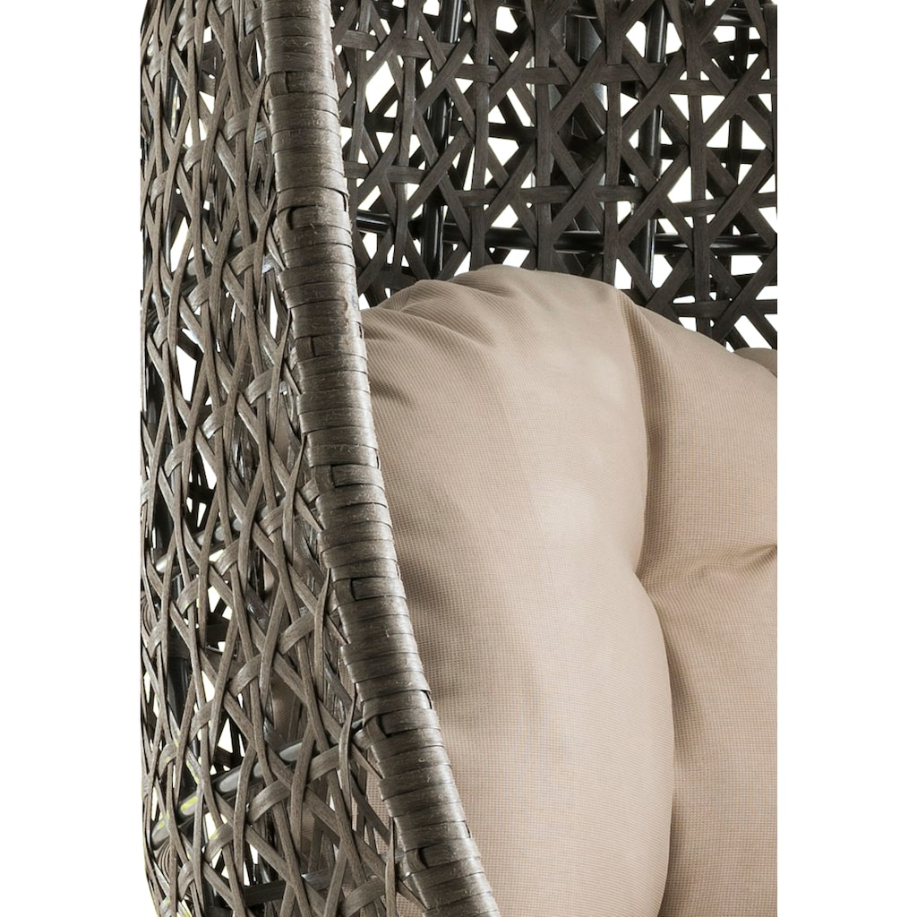 Destiny Hängestuhl »Cocoon«, Polyrattan, beige, inkl. Sitz- und Rückenkissen
