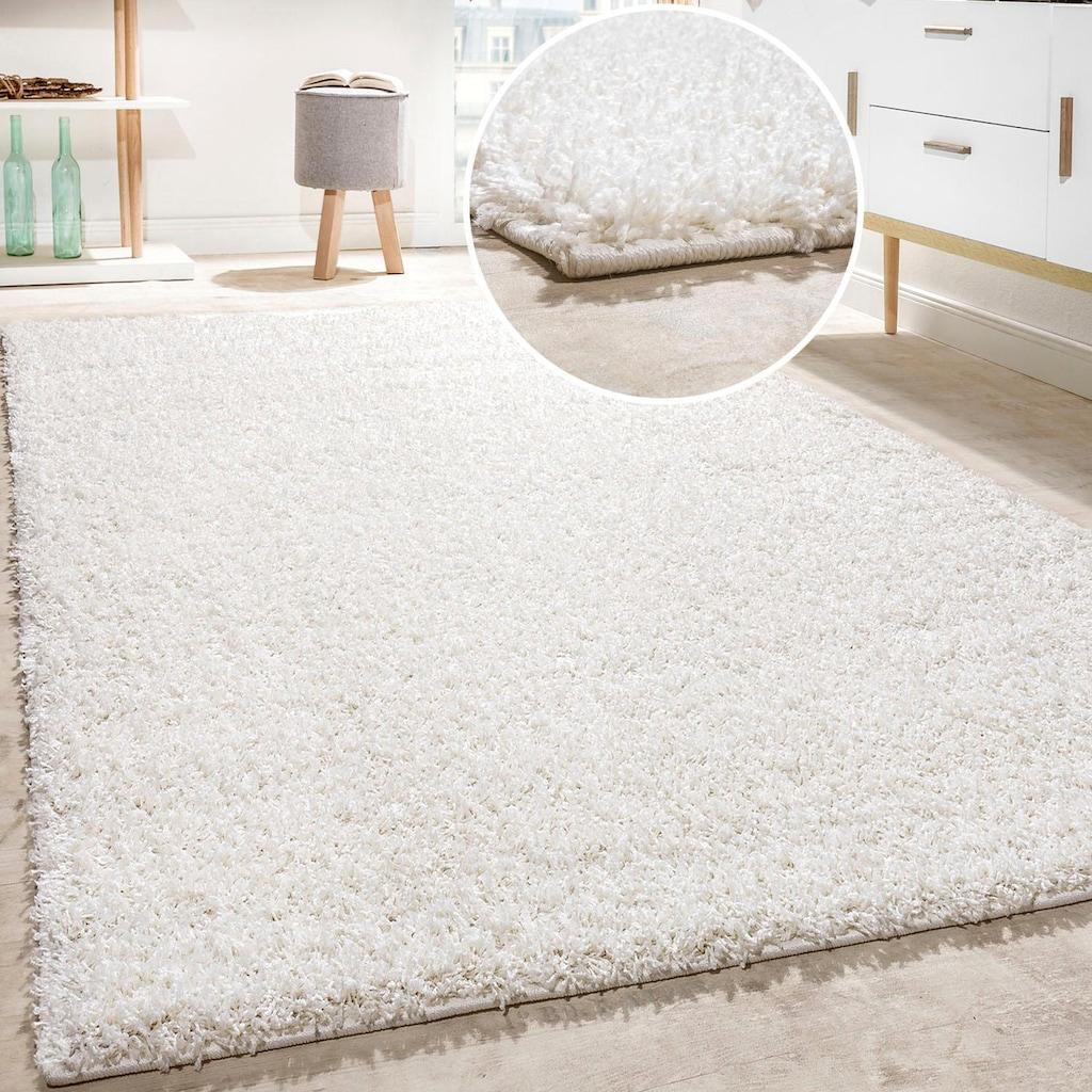 Paco Home Hochflor-Teppich »Twister 500«, rechteckig, 45 mm Höhe, Uni Hochflor Shaggy mit hoher Fadendichte