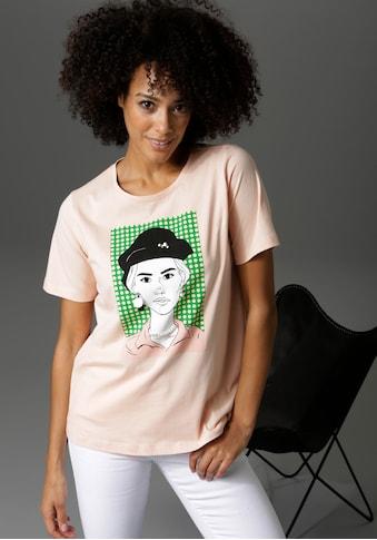 Aniston CASUAL T-Shirt, Frontdruck mit Zierperlen, Glitzersteinchen und... kaufen