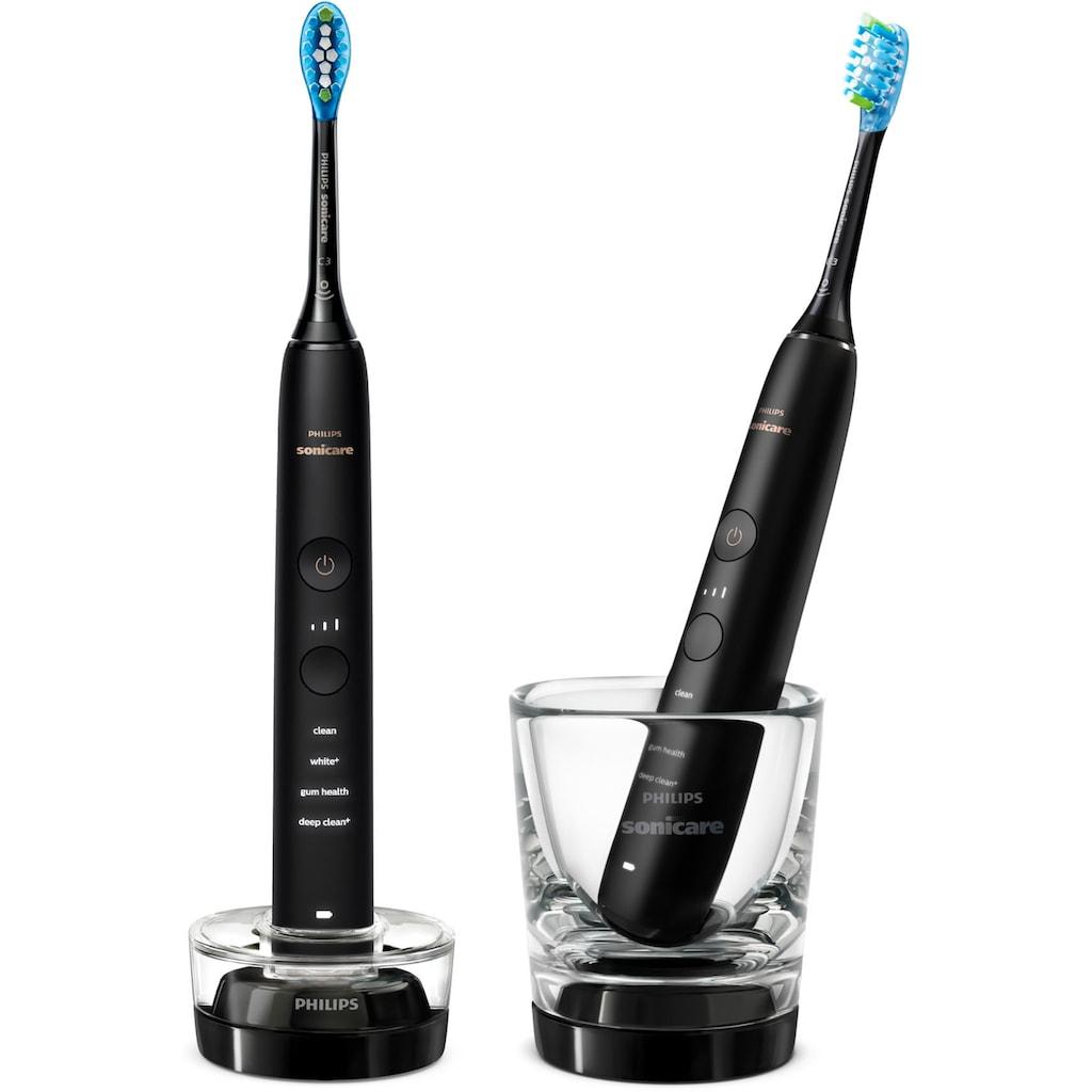 Philips Sonicare Elektrische Zahnbürste »HX9914/54«, 2 St. Aufsteckbürsten, DiamondClean Premium Schallzahnbürste, Doppelpack inkl. Ladeglas