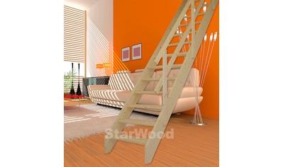 STARWOOD Raumspartreppe »Korfu«, offene Stufen, gerade, Holzgeländer rechts kaufen