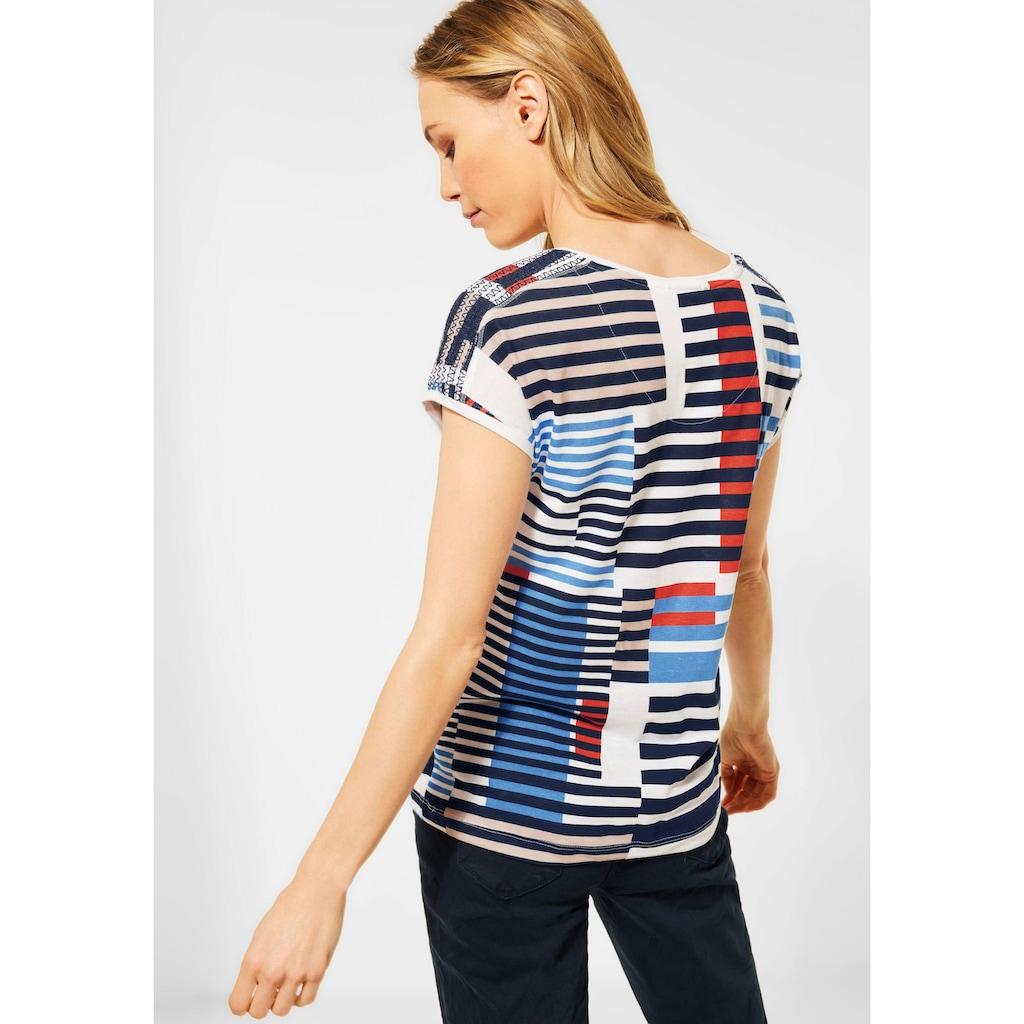 Cecil V-Shirt, mit Farb- und Streifen-Mix