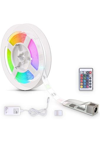 B.K.Licht LED Stripe, 90 St.-flammig, LED Band 3m, silikonbeschichtet, RGB, Fernbedienung, selbstklebend, Farbwechsel, kürzbar, Lichterkette, Band, Streifen, LED Leiste, LED Lichtleiste, Weiß kaufen