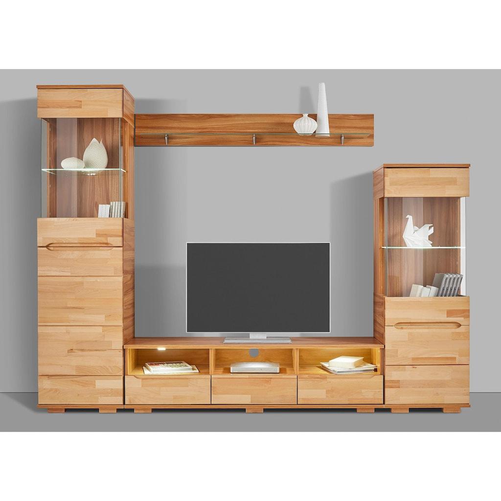 Wohnwand »Vetro«, (Set, 4 St.), teilmassives Holz