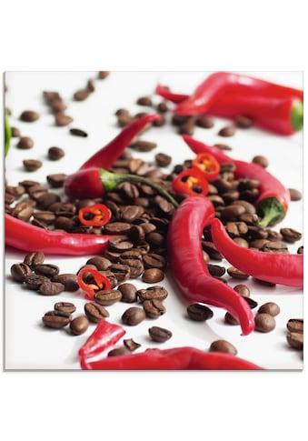 Artland Glasbild »Frische Chili auf Kaffee«, Lebensmittel, (1 St.) kaufen