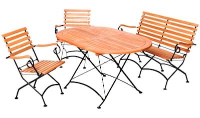 MERXX Gartenmöbelset »Schloßgarten«, 4tlg., 2 Sessel, Bank, Tisch, klappbar, Eukalyptus kaufen