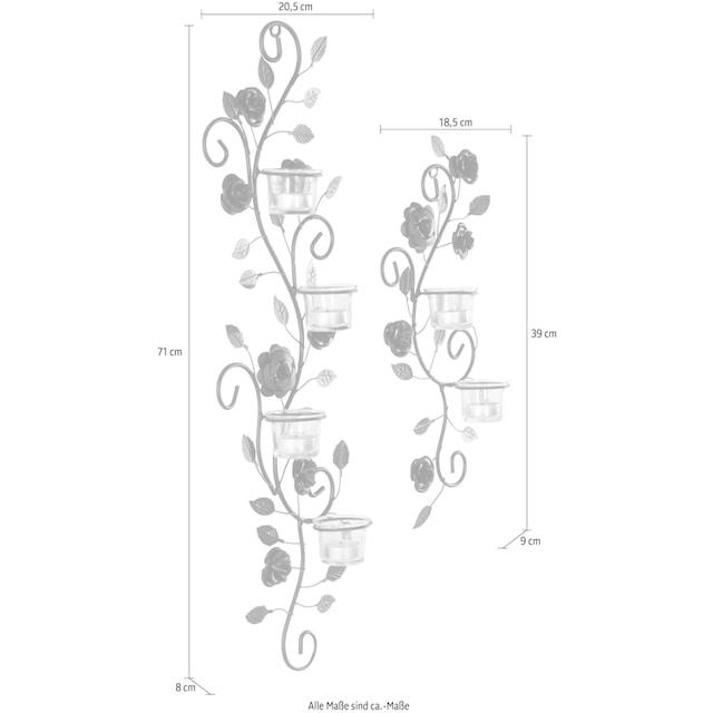 Home affaire Wandkerzenhalter »Blumenranke« (2er-Set)
